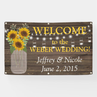 country sunflower custom wedding banner