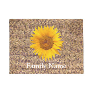 Country Sunflower Family Name Rustic Wood Doormat
