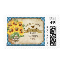 Country Sunflower Gingham Rustic Save the Date Postage