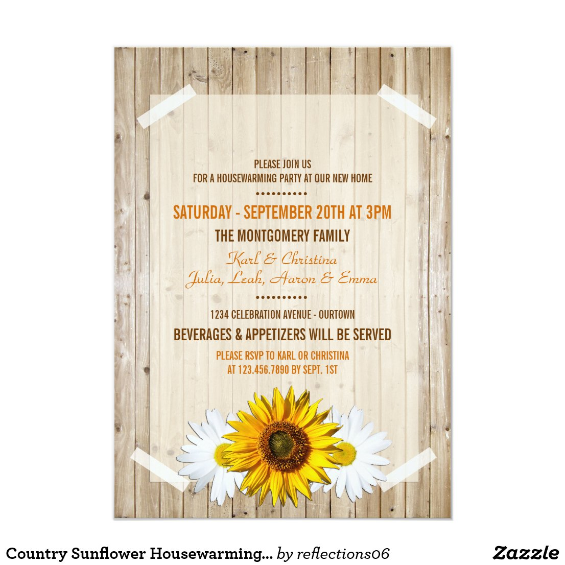 Country Sunflower Housewarming Party Invitation