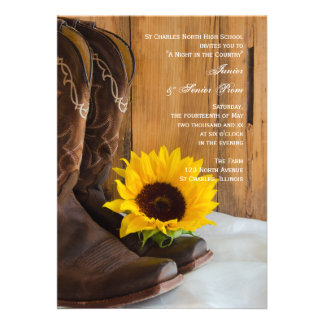 Country Sunflower Junior Senior Prom Invitation