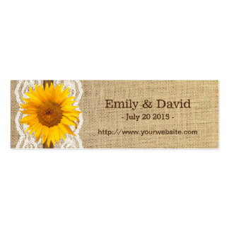 Country Sunflower Lace & Burlap Wedding Website Double-Sided Mini Business Cards (Pack Of 20)