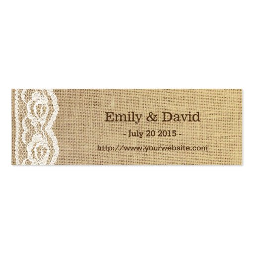 Country Sunflower Lace & Burlap Wedding Website Business Cards