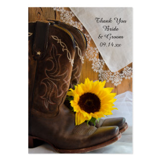 Country Sunflower Lace Western Wedding Favor Tags Large Business Card