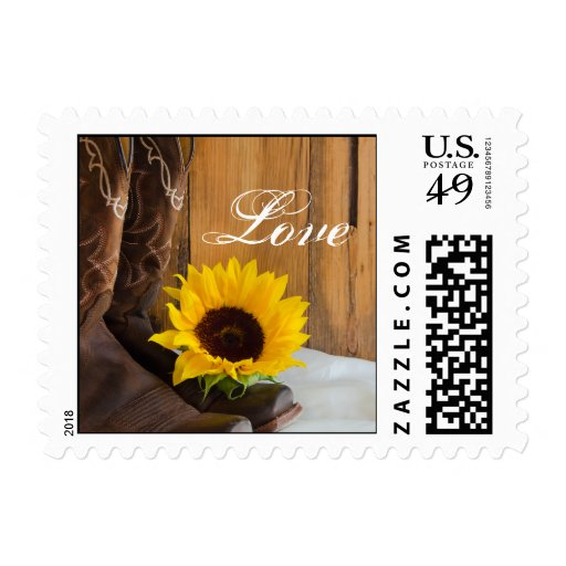 Country Sunflower Love Wedding Postage Stamp