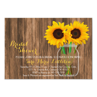 Country Sunflower Mason Jar Bridal Shower Card