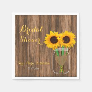 Country Sunflower Mason Jar Bridal Shower Paper Napkin
