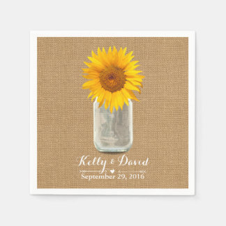 Country Sunflower & Mason Jar Burlap Wedding Napkin