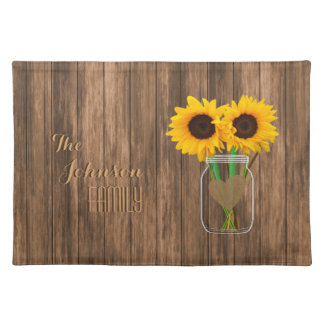 Country Sunflower Mason Jar Cloth Placemat