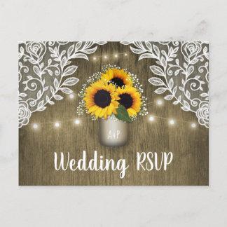 Country Sunflower Mason Jar Wedding RSVP Postcards