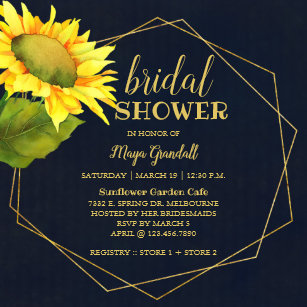 6c0b6d9fe064 Country Sunflower Navy Blue Bridal Shower Invitation