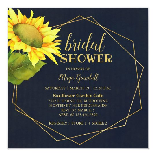 236139ecc7df Country Sunflower Navy Blue Bridal Shower Invitation