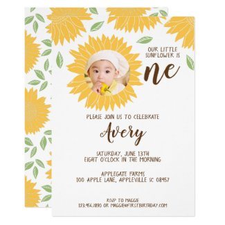 Country Sunflower Photo 1st Birthday Party Invitation