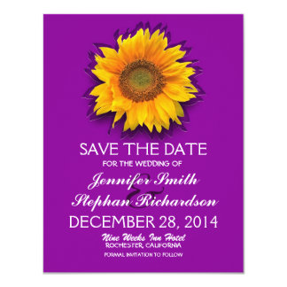 country sunflower purple save the date cards