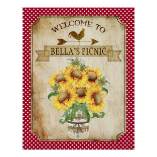 Country Sunflower Red Gingham Poster