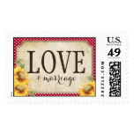 Country Sunflower Red Gingham Rustic Love Wedding Postage