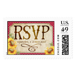 Country Sunflower Red Gingham Rustic RSVP Postage