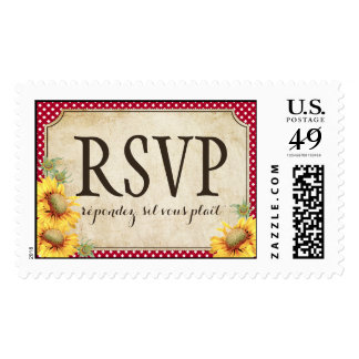 Country Sunflower Red Gingham Rustic RSVP Wedding Postage