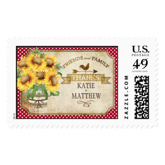 Country Sunflower Red Gingham Rustic Thank You Postage
