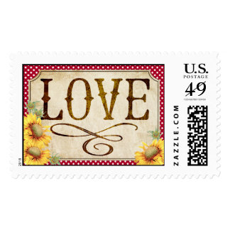Country Sunflower Red Gingham Rustic Wedding Postage