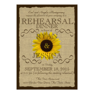 Country Sunflower Rehearsal Dinner Invitation