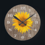 "Country Sunflower Rustic Barn Wood Vintage Round Clock<br><div class=""desc"">Country Sunflower Rustic Barn Wood Vintage Clocks.</div>"