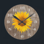 """Country Sunflower Rustic Barn Wood Vintage Round Clock<br><div class=""""desc"""">Country Sunflower Rustic Barn Wood Vintage Clocks.</div>"""