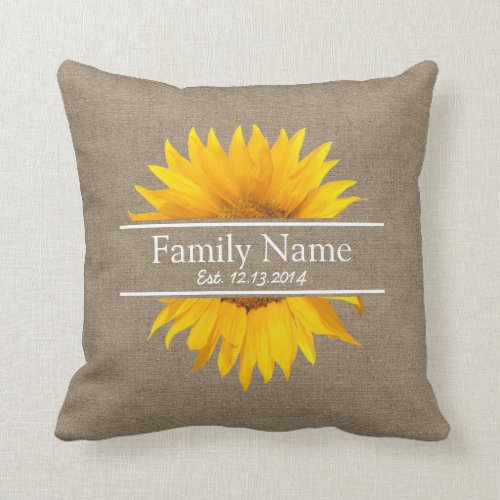 Country Sunflower Rustic Burlap Family Name Throw Pillow