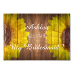 Country Sunflower Rustic Will you be my Bridesmaid 3.5x5 Paper Invitation Card