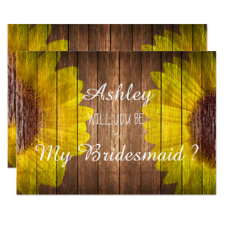 Country Sunflower Rustic Will You Be My Bridesmaid Card at Zazzle