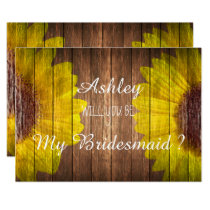 Country Sunflower Rustic Will you be my Bridesmaid Invitation