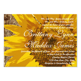Country Sunflower Rustic Wood Wedding Invitations