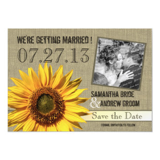 Country Sunflower Save the Date 5x7 Paper Invitation Card