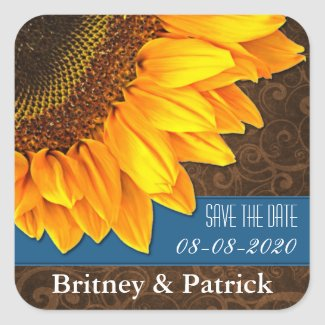 Country Sunflower Save the Date Wedding Stickers sticker
