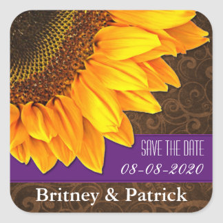 Country Sunflower Save the Date Wedding Stickers