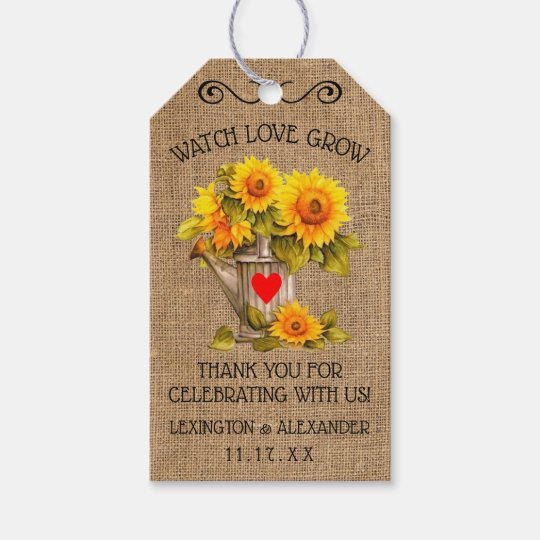 Country Sunflower Seeds Wedding Guest Favor Tag Zazzle