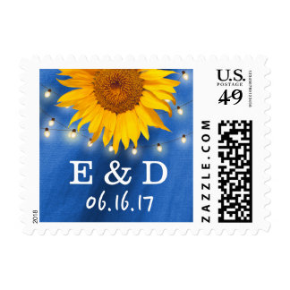 Country Sunflower String Lights Navy Blue Wedding Postage