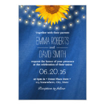 Country Sunflower & String Lights Wedding Invitation