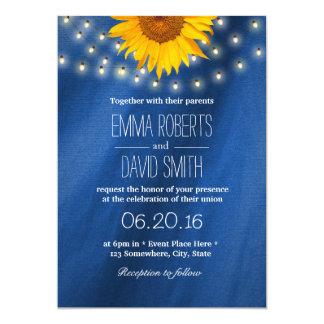 Country Sunflower & String Lights Wedding Invitation