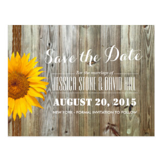 Country Sunflower Twine & Barn Wood Save the Date Postcard