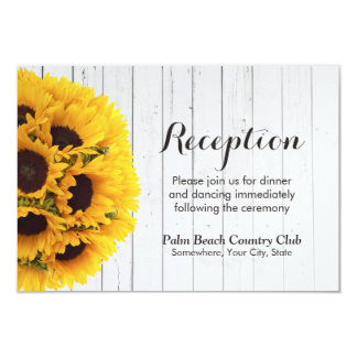 Country Sunflower Weathered Wood Wedding Reception Card
