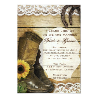 Country Sunflower Wedding Boots and Horseshoes 5x7 Paper Invitation Card