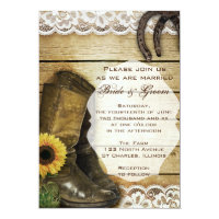 Country Sunflower Wedding Boots and Horseshoes Card