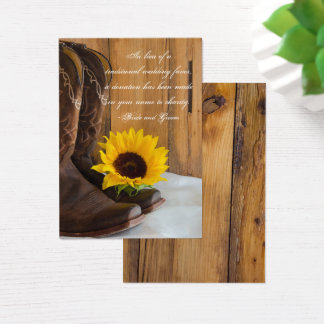Country Sunflower Wedding Charity Favor Card