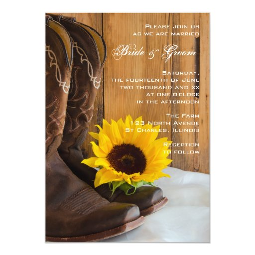 "Country Sunflower Wedding Invitation 5"" X 7"" Invitation Card"