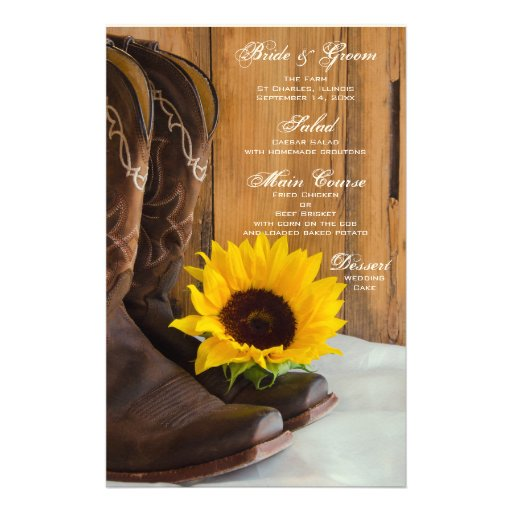 Country Sunflower Wedding Menu Customized Stationery