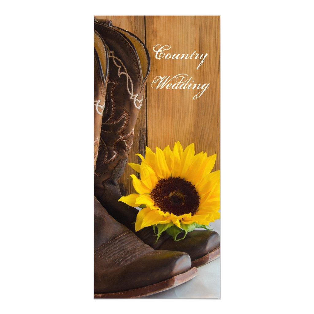 Country Sunflower Wedding Program 25 cards.