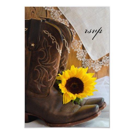 "Country Sunflower Wedding Response Card 3.5"" X 5"" Invitation Card"