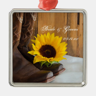 Country Sunflower Wedding Square Ornament