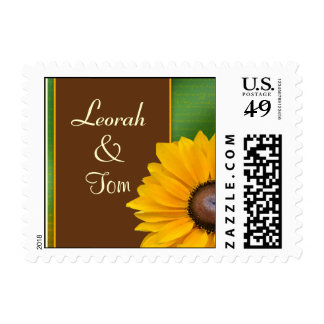 Country Sunflower wedding stamp template